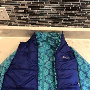 Kids Columbia tween reversible vest fleece set